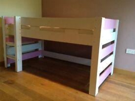 Lollipop mid sleeper children's bed pink & white