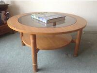 Coffee Table. Teak veneer and glass