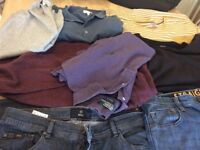 MENS BUNDLE OF CLOTHES JEANS (36) jumpers all large or Xl