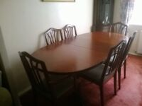 Dining table and six chairs; reduced price
