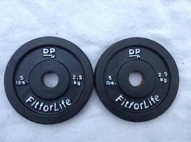 2 x 5lb (2.3kg) DP Fitness Standard Cast Iron Weights