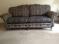 Navy and beige 3 seater sofa and 2 matching chairs. Buyer to collect.