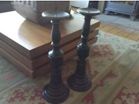 Large Carved Wooden Candle Sticks