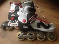 INLINE SKATES, SENHAI MAKE, RED AND WHITE, WITH LACES, STRAP, CLIP FASTENINGS, ADJUSTABLE SIZE 37-40