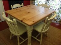 Farmhouse Solid Pine kitchen dining table & 4 chairs