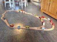 Wooden toy railway set