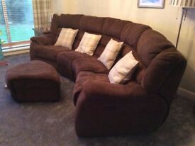 4 seater brown velour curved sofa with electric recliners,reclining armchair and footstool