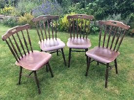 Set of 4 Retro 'Drevounia Czechoslovakian' stickback Kitchen Dining Chairs - very rare