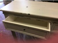 Antique/distressed console table & matching bedside stand. Pale grey Paint. Good condition