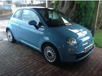 Blue Fiat 500 Lounge, 3 door, Road Tax £0, Low Mileage,