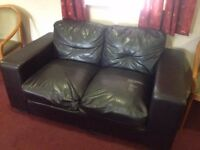 3 & 2 Seater brown leatherette sofas Free to a good home!
