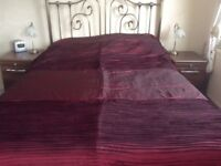 Wine coloured, king size bedspread. Satin effect fabric.