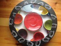 Set 6 espresso mugs and sauces bright colours