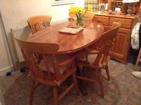 Solid Pine Oval Table and Chairs x 4