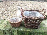 Wicker basket planter