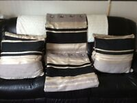 1 x Pair of fully lined 46 x 90 Black & Gold Curtains including 4 x Matching cushion & covers,