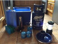 Gas bottle,2 stoves with cylinders,lamp, cooler box with ice packs.