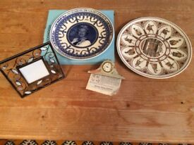 Wedgwood plates, Aynsley clock and photo frame