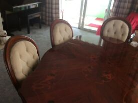 Inlaid dining table six chairs very good condition