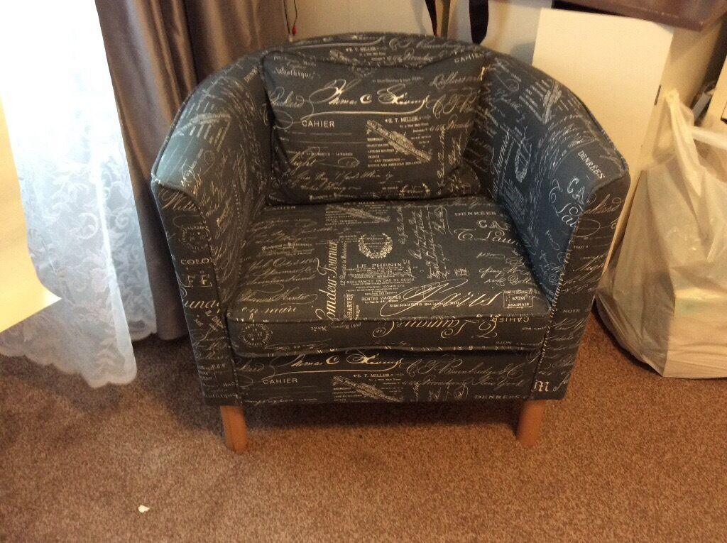 Tub chair, newly reupholstered in greyish blue fabric with script in ...
