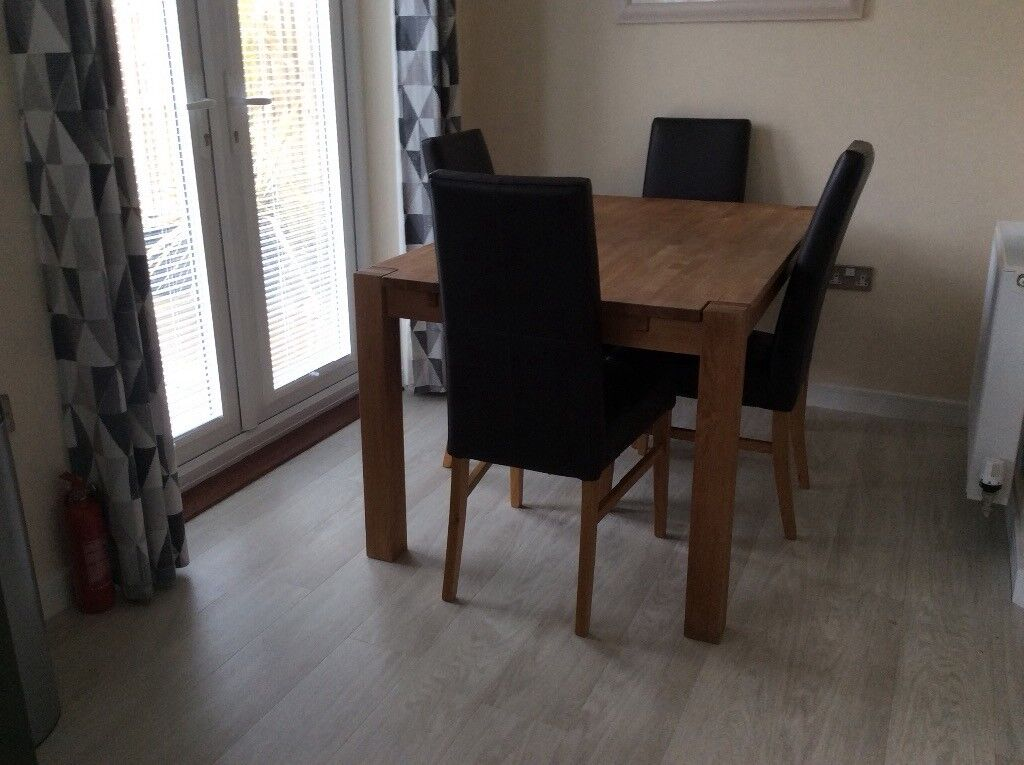Oak Table And 4 Leather Dining Chairs For Sale