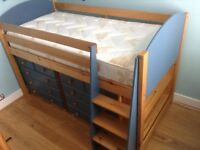 High rise pine cabin bed with storage 2 separate chest of drawers. To match