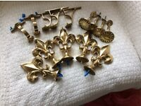 A selection of solid brass curtain accessories