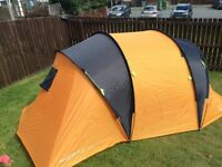 4 man tent with 3 blow up single beds and foot pump