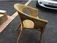 4 lovely wicker chairs, little use , excellent condition