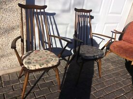 Ercol Goldsmith style 2 carvers and 2 chairs with original Ercol seat pads