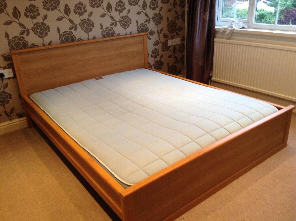 Ikea King size bed with Ikea Sultan Norrsken mattress