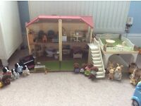 Silvanian Family Maple House, including furniture, Fish & Chip Van and Nursery Bus