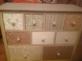 9 drawer unit Gold/stone colour SOLID PINE