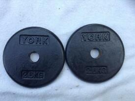 4 x 2.5kg York 'Thin' Standard Cast Iron Weights