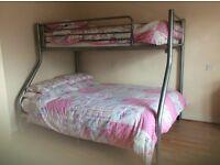 Tri-sleeper bunk bed in chrome