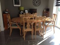 Pine Dining set comprising extending oval table in immaculate condition. Reduced for quick sale.