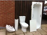 second hand bathroom suite white in good condition with bath panel and smal radiator
