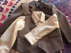 Full grey suit. Jacket waistcoat trousers and white shirt to fit 2 year old.