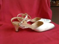 "Wedding shoes by Rainbow Club, Ivory Satin sling-back, size 7, 2"" heel"