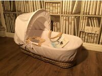Brand new baby Moses basket with hood, mattress and cover white boy or girl crib