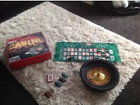 Roulette wheel and blackjack