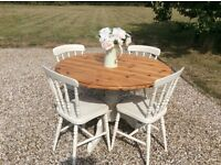 Shabby Chic Solid Pine Round Dining Table with 4 Chairs Painted in Farrow & Ball Clunch