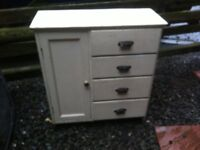 Vintage Pine painted kitchen cupboard unit with 4 drawes + door