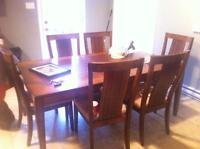 Solid wood table & six chairs