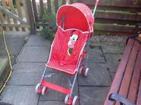 Minnie Mouse mothercare pushchair with raincover