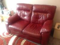 Leather sofa , armchair and foot stool
