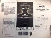 Cirque de Soleil 3x tickets 28 January matinee