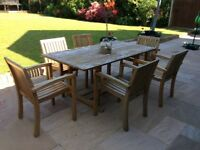 Teak garden table and 6 chairs