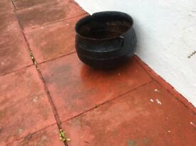 Antique Steel Garden Pot Over 100 years old. Nice garden feature.