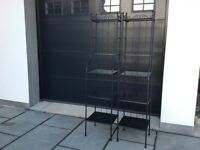 Shop display stands 2 off with glass & metal shelfs